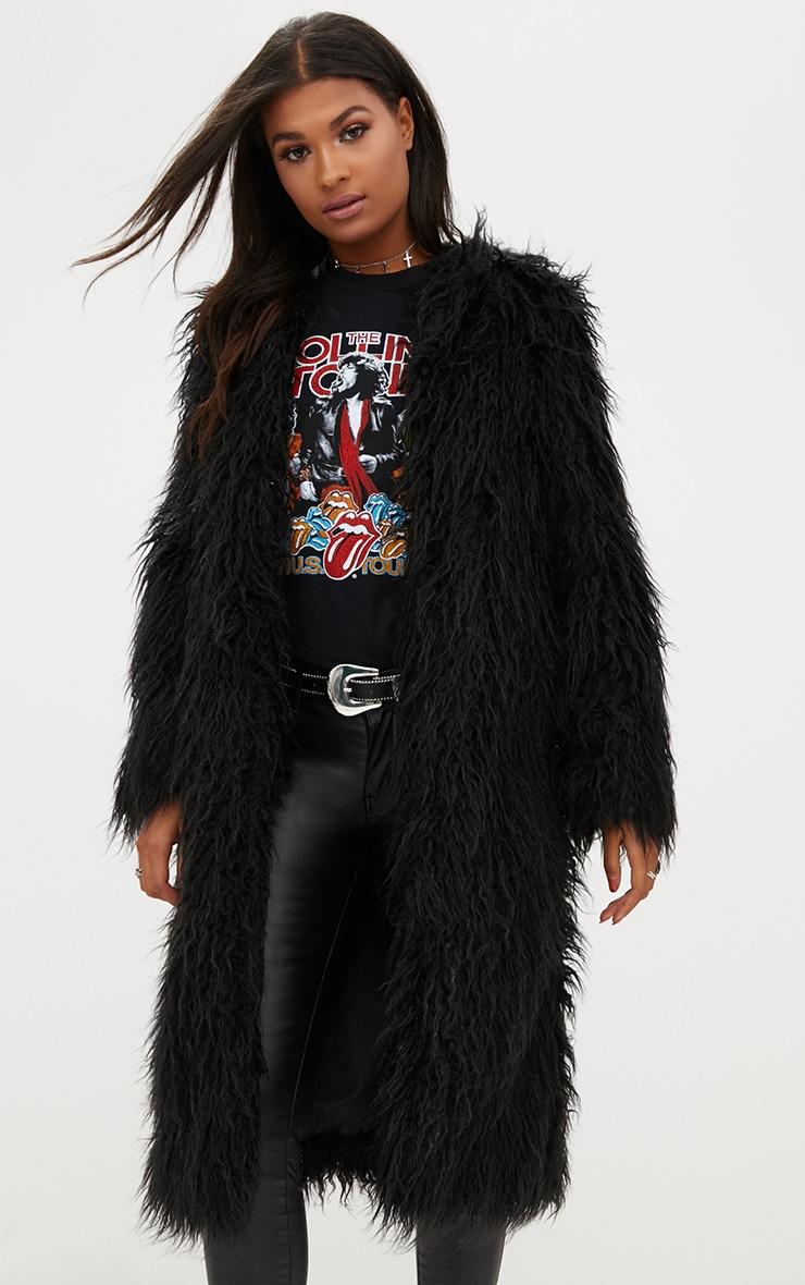 Manteau long en fausse fourrure hirsute noir 4