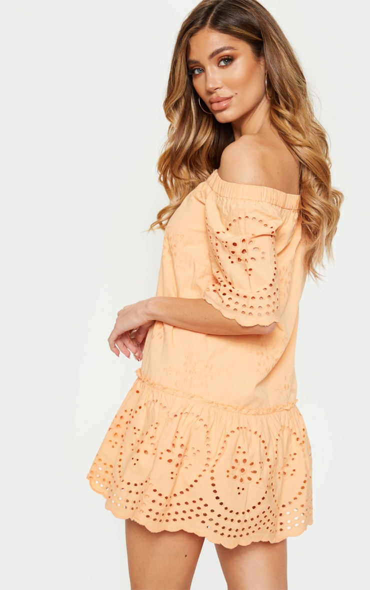 Peach Broiderie Anglaise Bardot Shift Dress 2