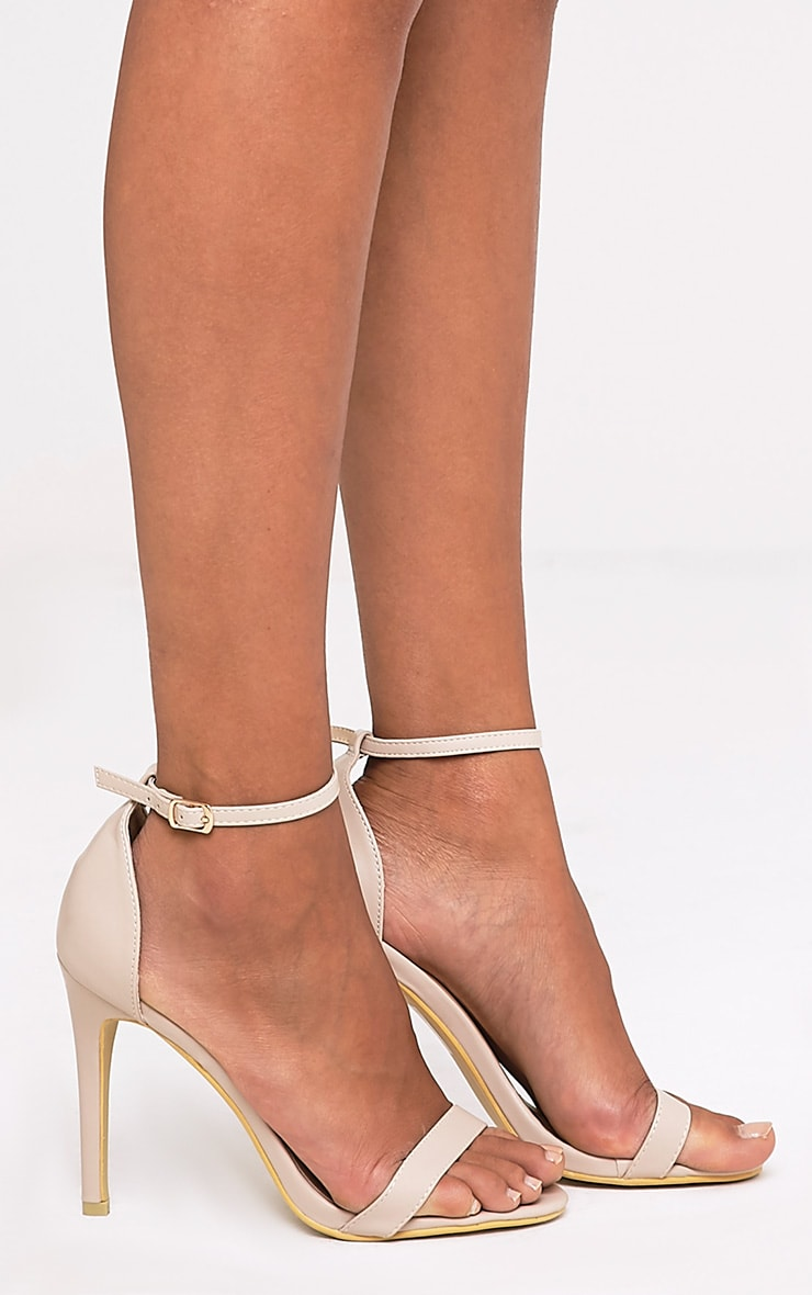 Clover Nude Strap Heeled Sandals 1