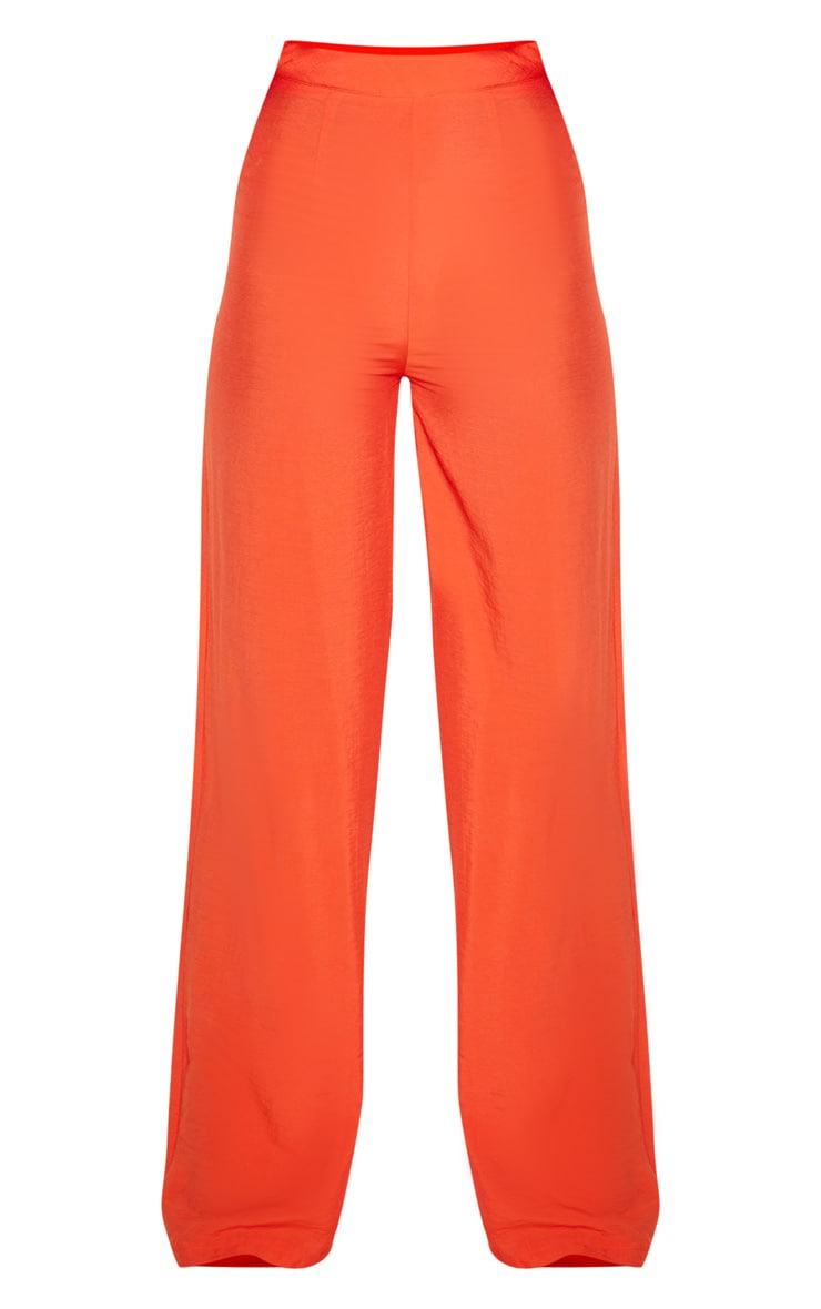 Bright Orange Woven High Waisted Wide Leg Pants 3