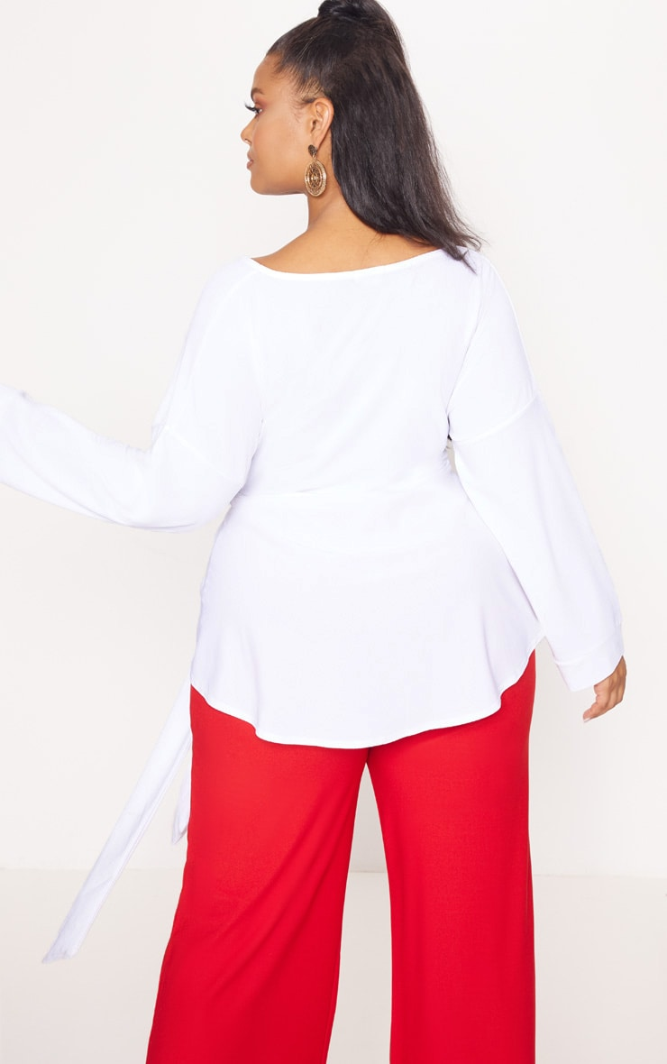 Plus White White Tie Waist Blouse 2