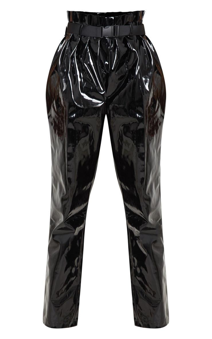 Black Vinyl Belted Peg Leg Trouser  3