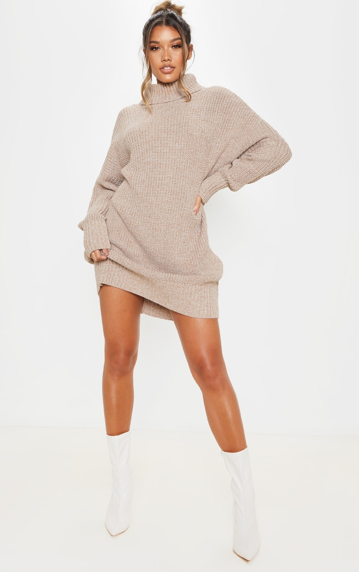 Camel Oversized High Neck Knitted Sweater Dress  1