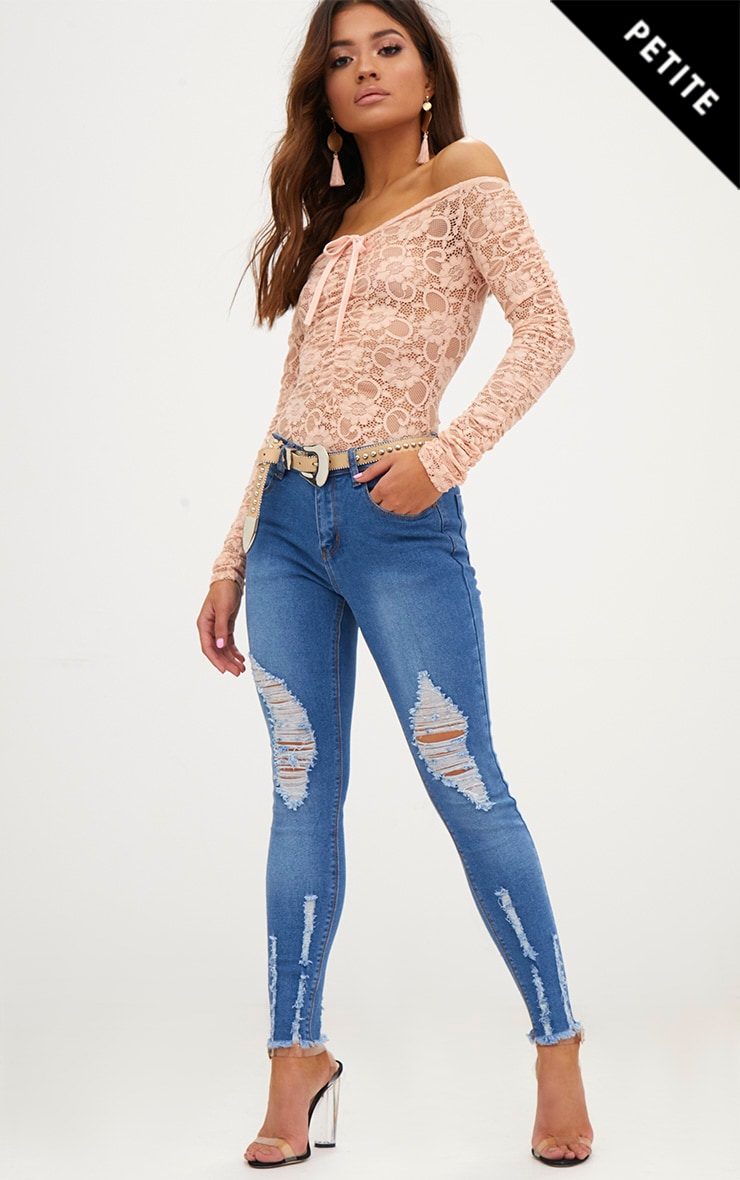 Petite Mid Blue Wash Ripped Skinny Jeans