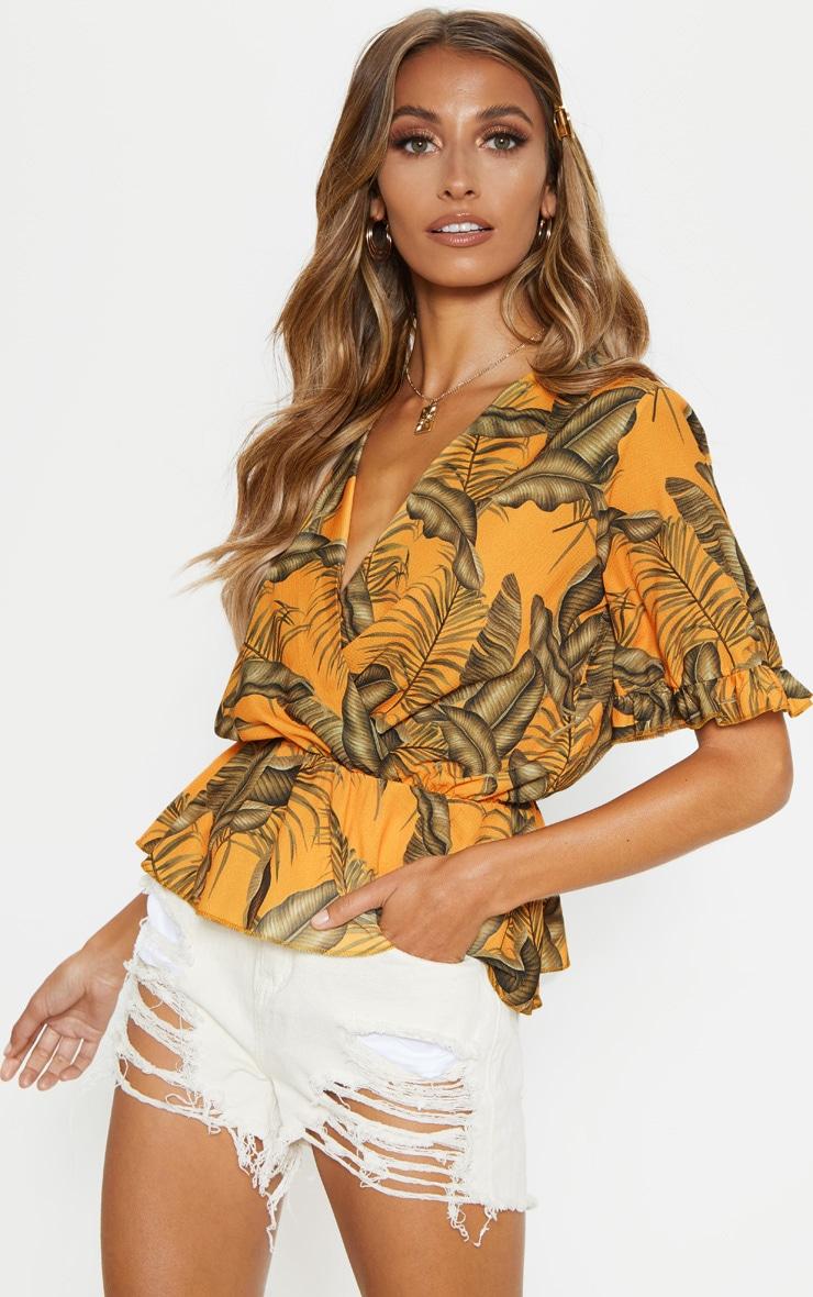 Orange Floral Printed Chiffon Plunge Short Sleeve Blouse 1