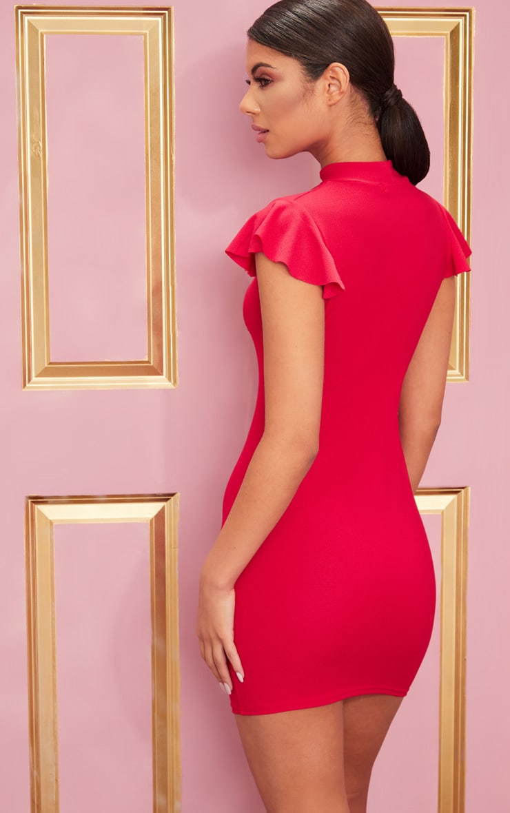 Red High Neck Cap Sleeve Bodycon Dress 2