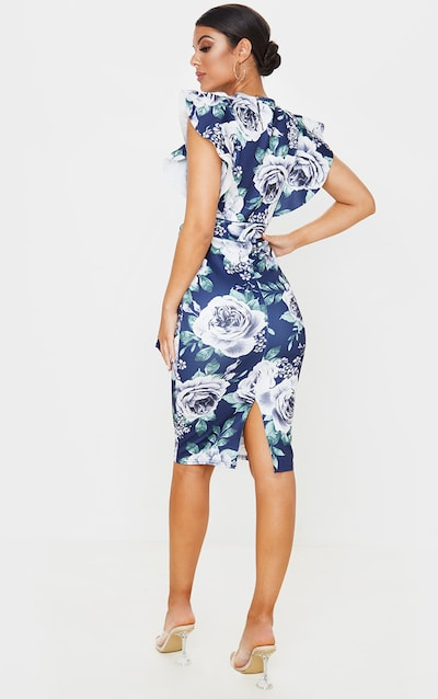 Navy Floral Print Frill Detail Sleeveless Midi Dress