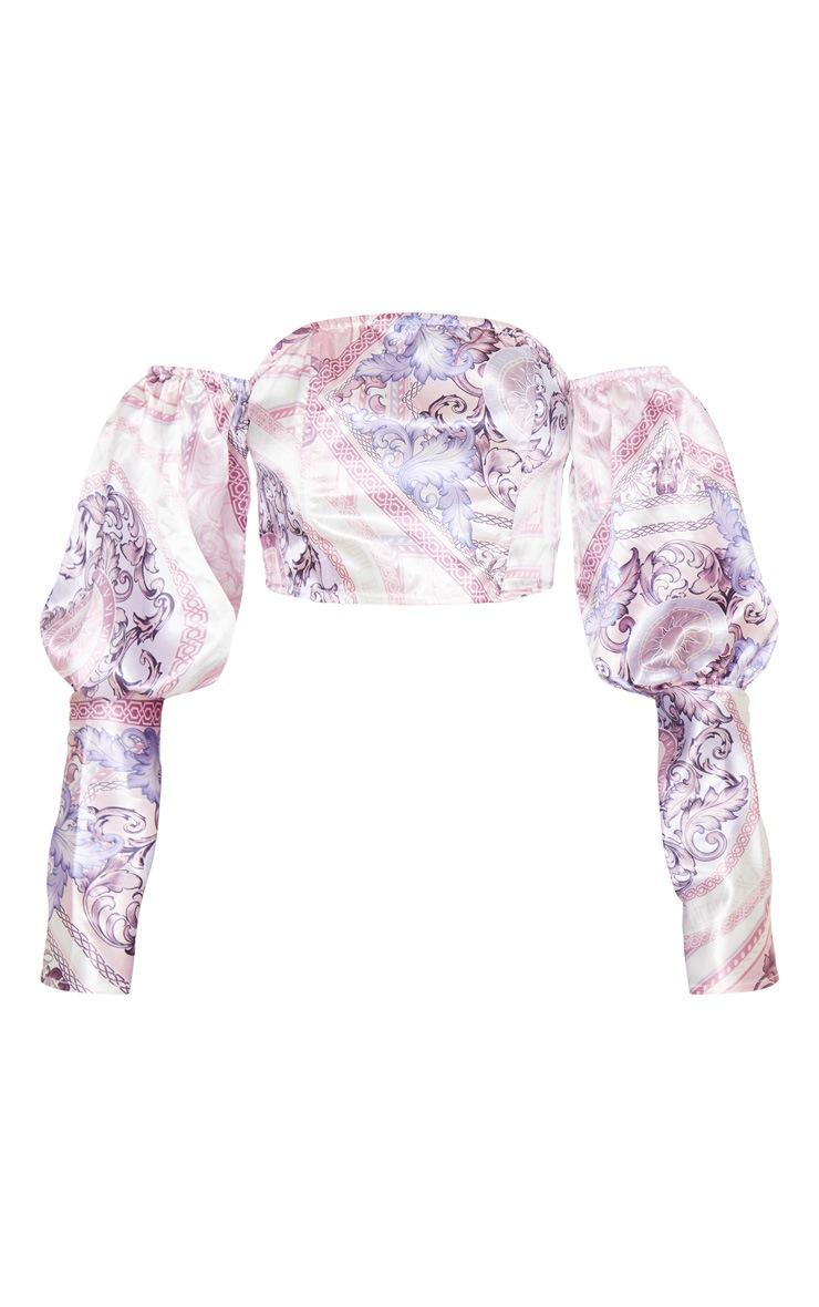 Blush Pink Scarf Print Satin Bardot Puff Sleeve Crop Top 3