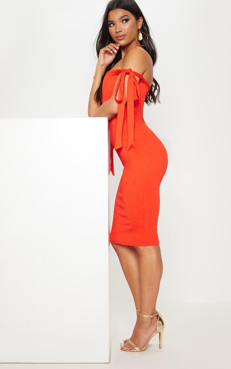 Tangerine Tie Strap Detail V Bar Bardot Midi Dress 4