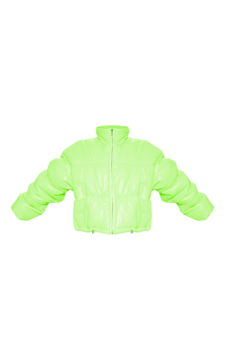 Petite Lime Cropped Neon Puffer Jacket 4
