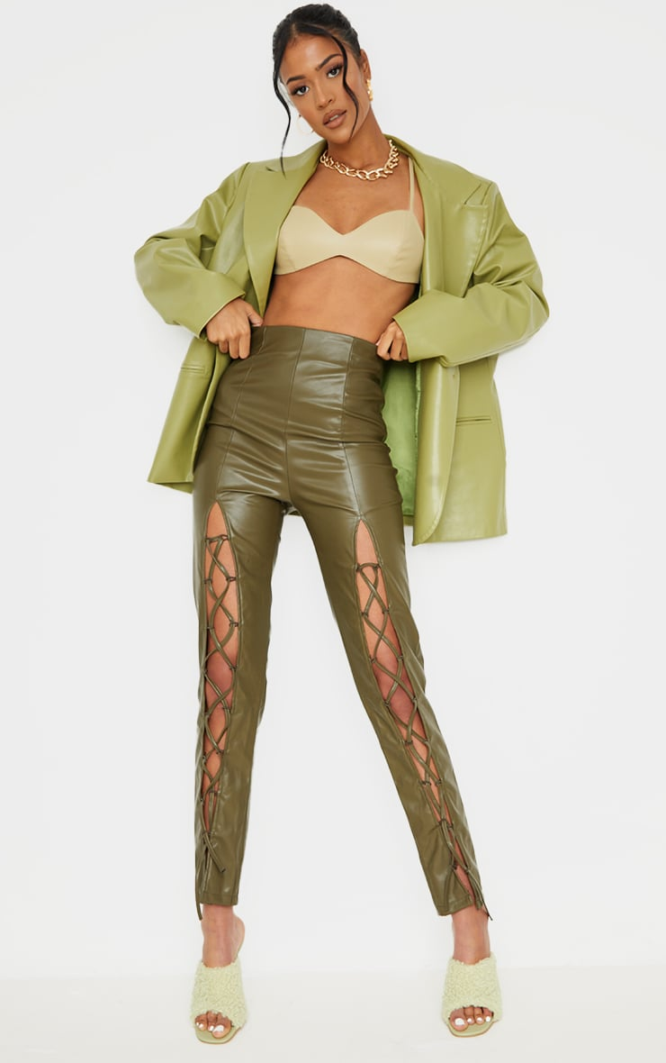Tall  Olive Lace Up Pu Pants 1