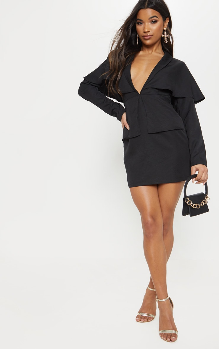 Black Cape Blazer Style Bodycon Dress 4