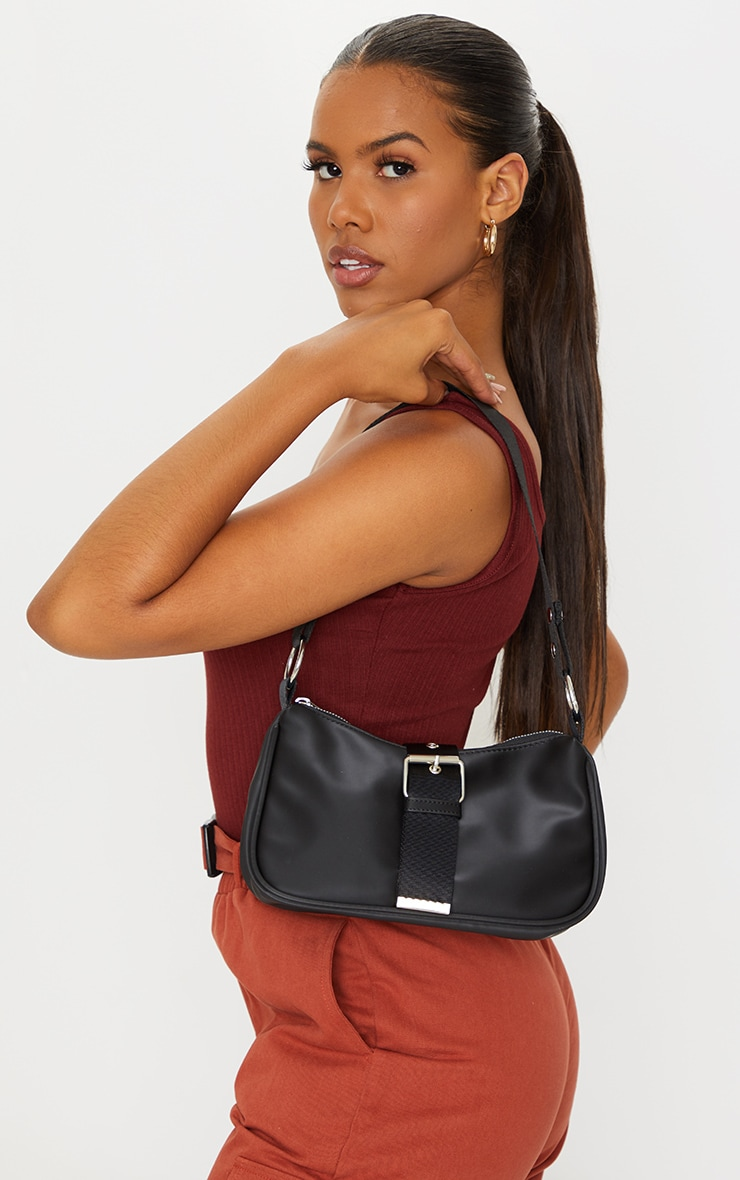 Black Buckle Up Shoulder Bag 1
