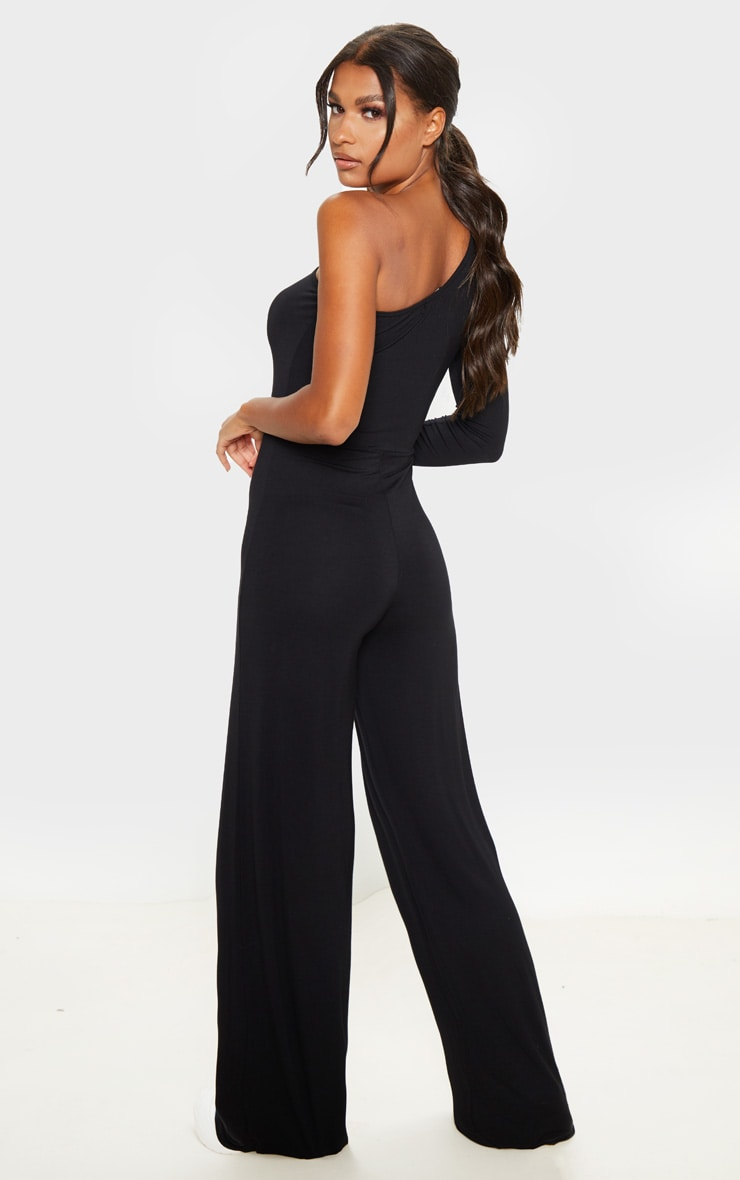 Black One Shoulder Long Sleeve Jumpsuit 2