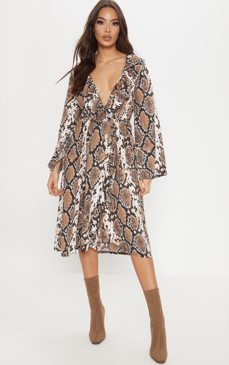 Brown Snake Print Wrap Front Frill Midi Dress 1