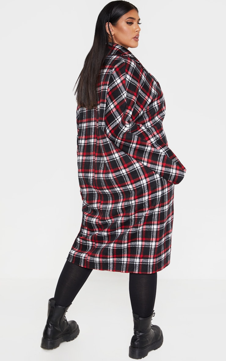 Plus Red Checked Boyfriend Oversized Midi Coat 2
