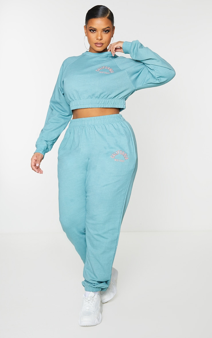 Plus Teal California Print Joggers 1
