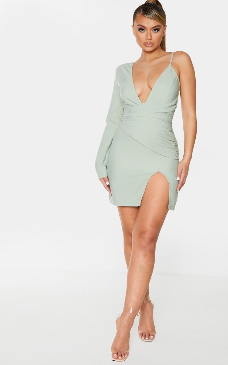 Sage Green Asymmetric Drape Split Bodycon Dress 3
