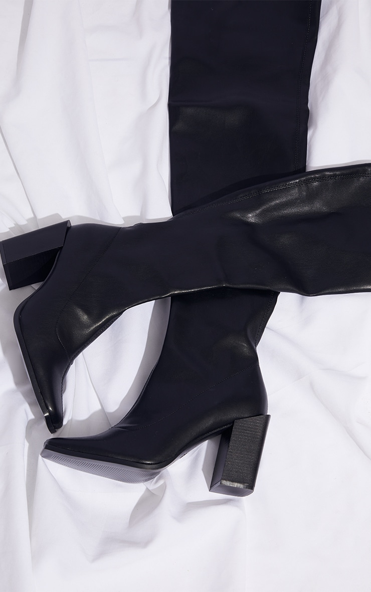 Black PU Square Toe High Block Over The Knee Boots 2