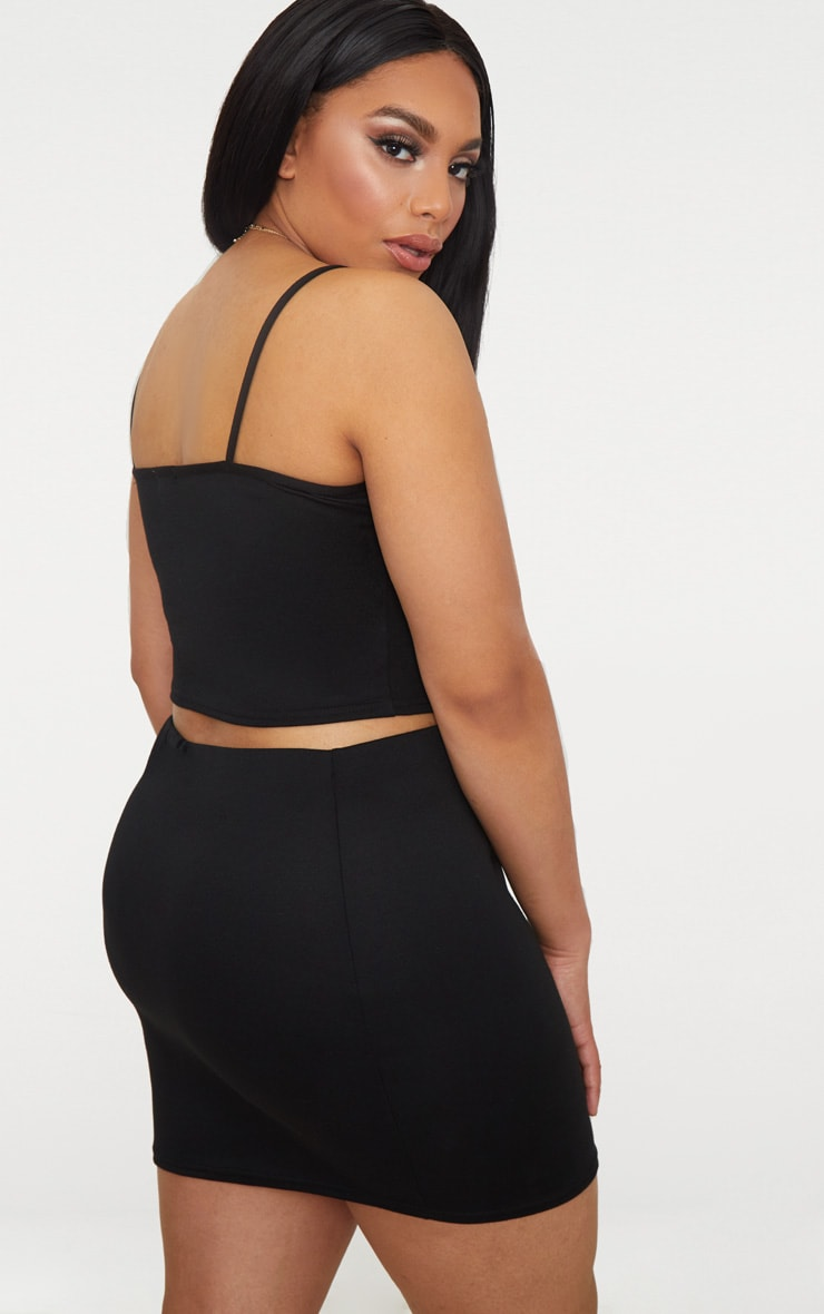 Plus Black Second Skin Ponte Strappy Crop Top 2