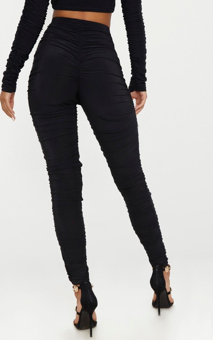 Black Slinky Ruched Legging  4