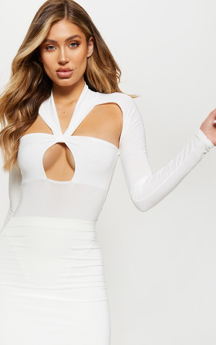 Cream Twist Long Sleeve Cut Out Bodysuit 6