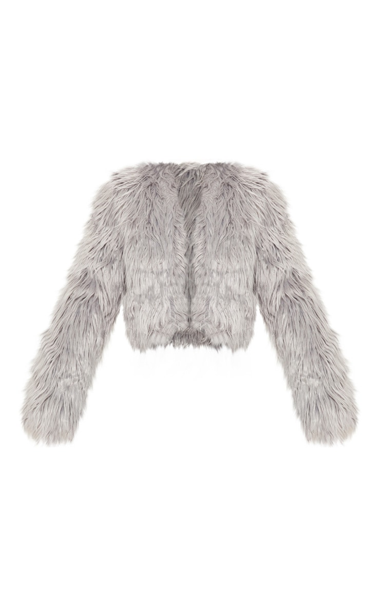 Liddie Grey Faux Fur Shaggy Cropped Jacket 3