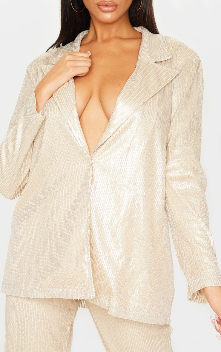 Gold Sequin Oversized Blazer 5