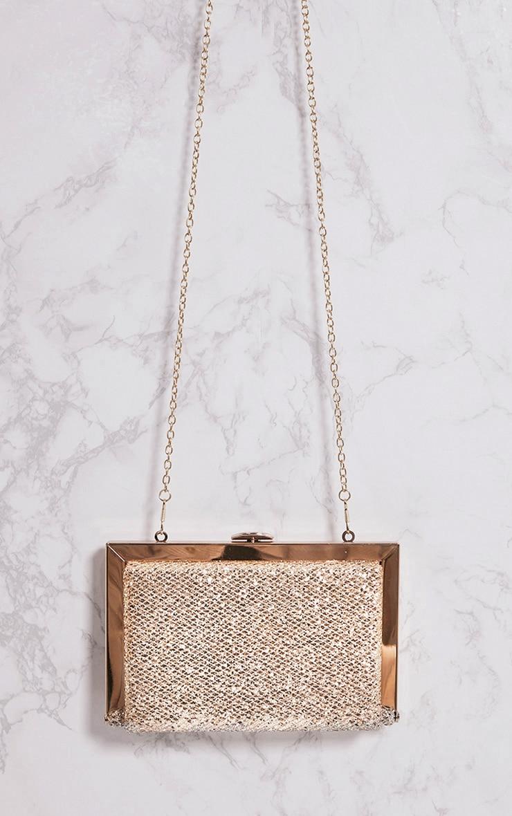 Gold Glitter Metal Clutch Bag 2
