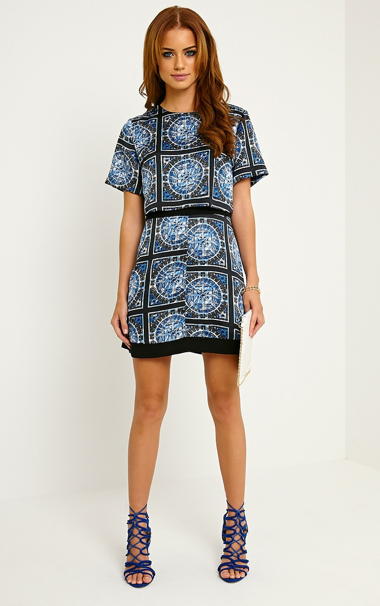 Leonarda Blue A-Line Printed Layered Shift Dress 3