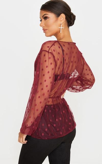 Burgundy Mesh Polka Dot Tie Front Blouse