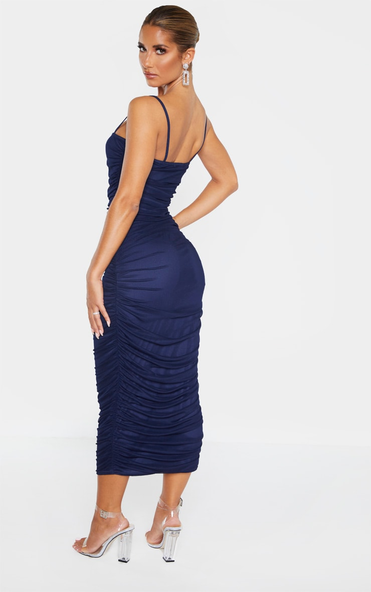 Navy Strappy Mesh Ruched Midaxi Dress 2