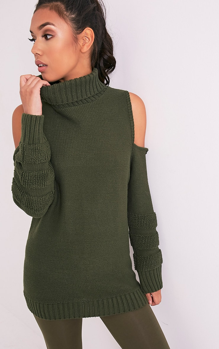 Hunni Khaki Cold Shoulder Roll Neck Jumper 1