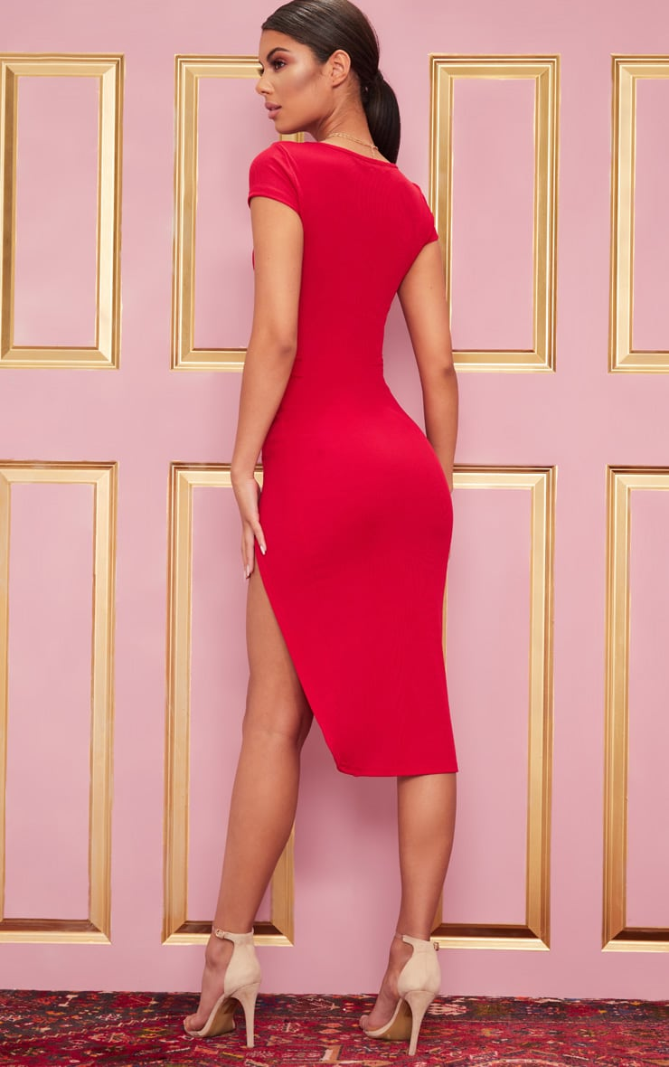 Ribbed Red Extreme Split Cap Sleeve Midi Dress 2
