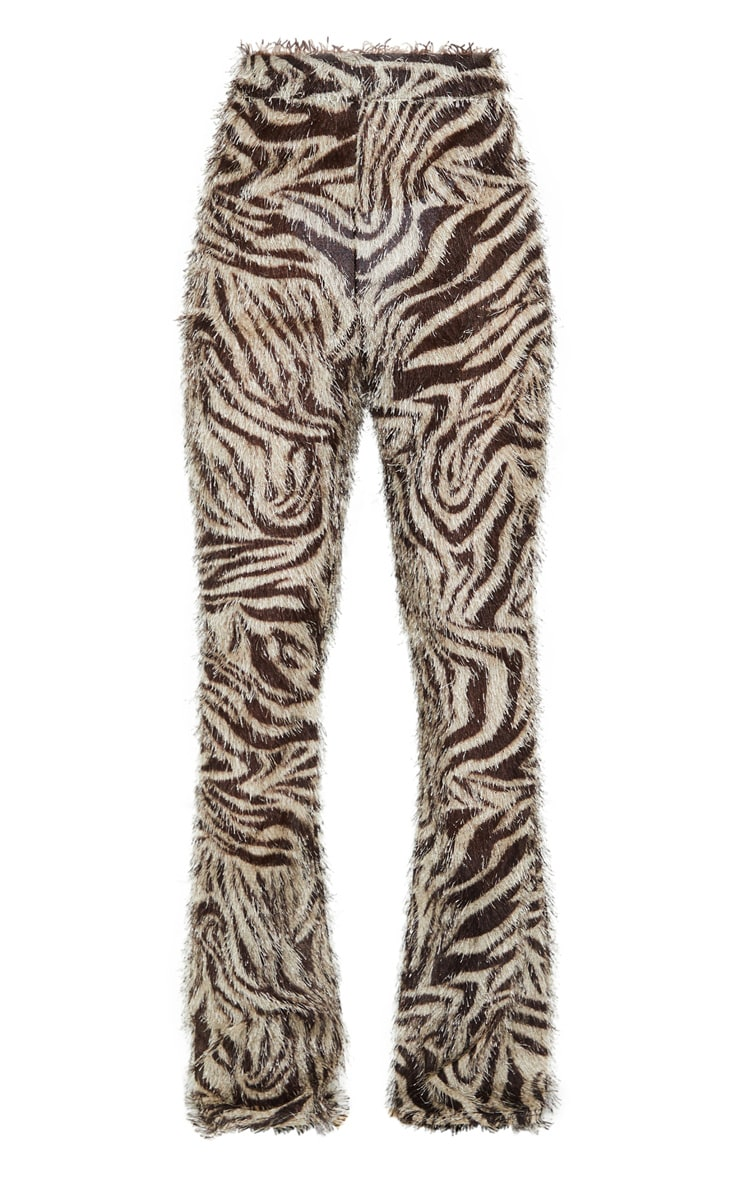 White Zebra Print Eyelash High Waisted Flared Trouser 5