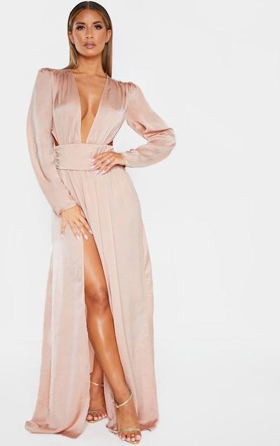 f56261e78 Nude Puff Sleeve Extreme Plunge Waist Detail Maxi Dress