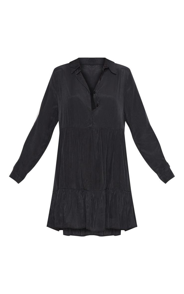 Black Tiered Shirt Dress 3