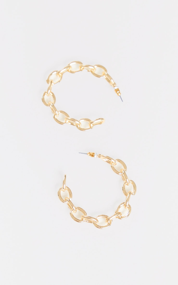 Gold Small Chain Hoop Earrings 3