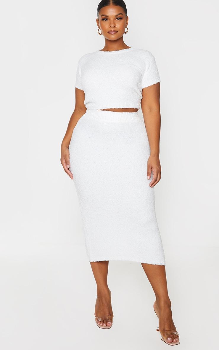 Plus Cream Fluffy Knit Midaxi Skirt 1