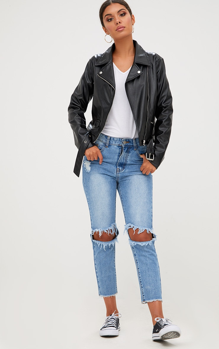 Polie Black PU Biker Jacket  5