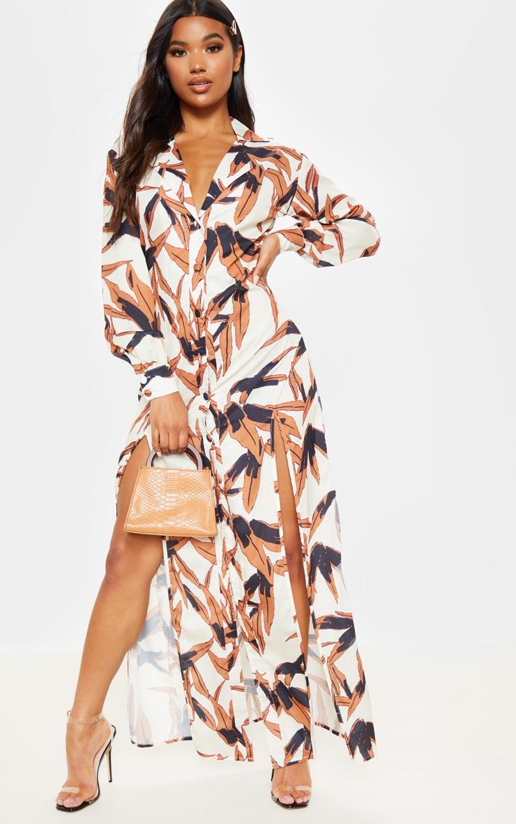 White Tropical Print Split Front Maxi Shirt Dress 1