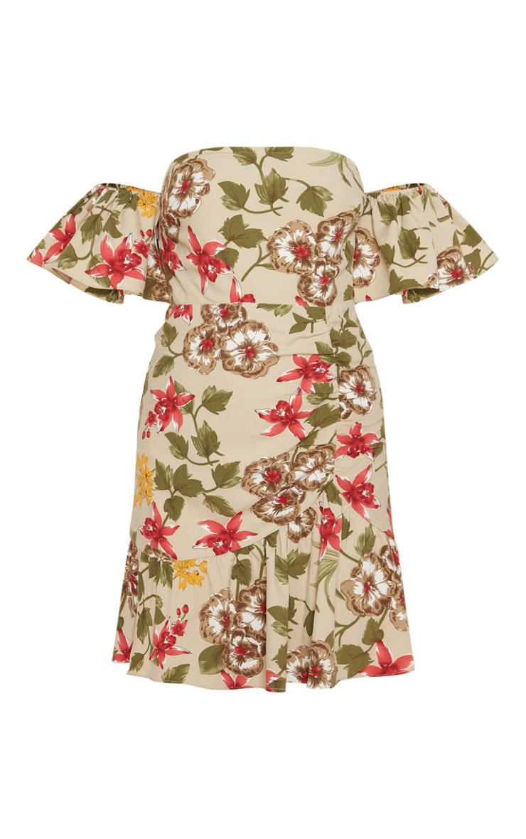 Beige Floral Frill Detail Bodycon Dress 3