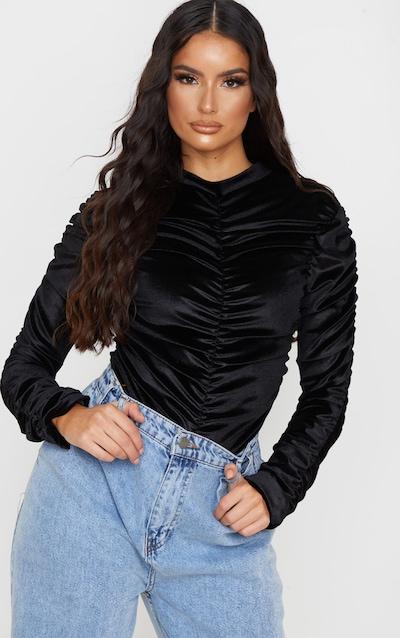 Black Velvet Ruched Detailing High Neck Bodysuit