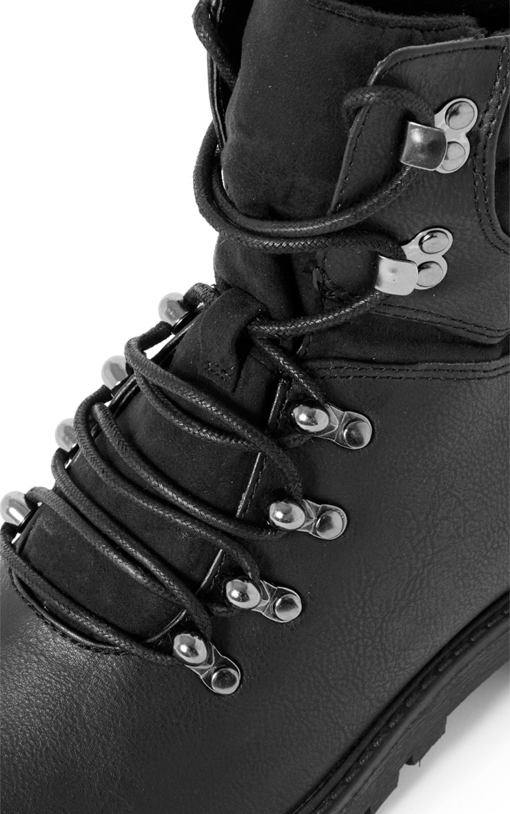 Hannah Black Lace Up Hiker Boot 5