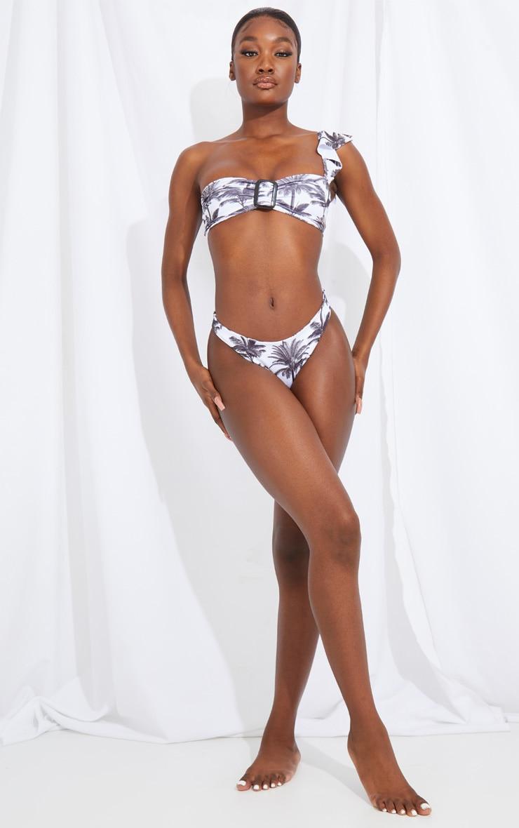 Tall White Palm Print One Shoulder Ring Detail Bikini Top 3