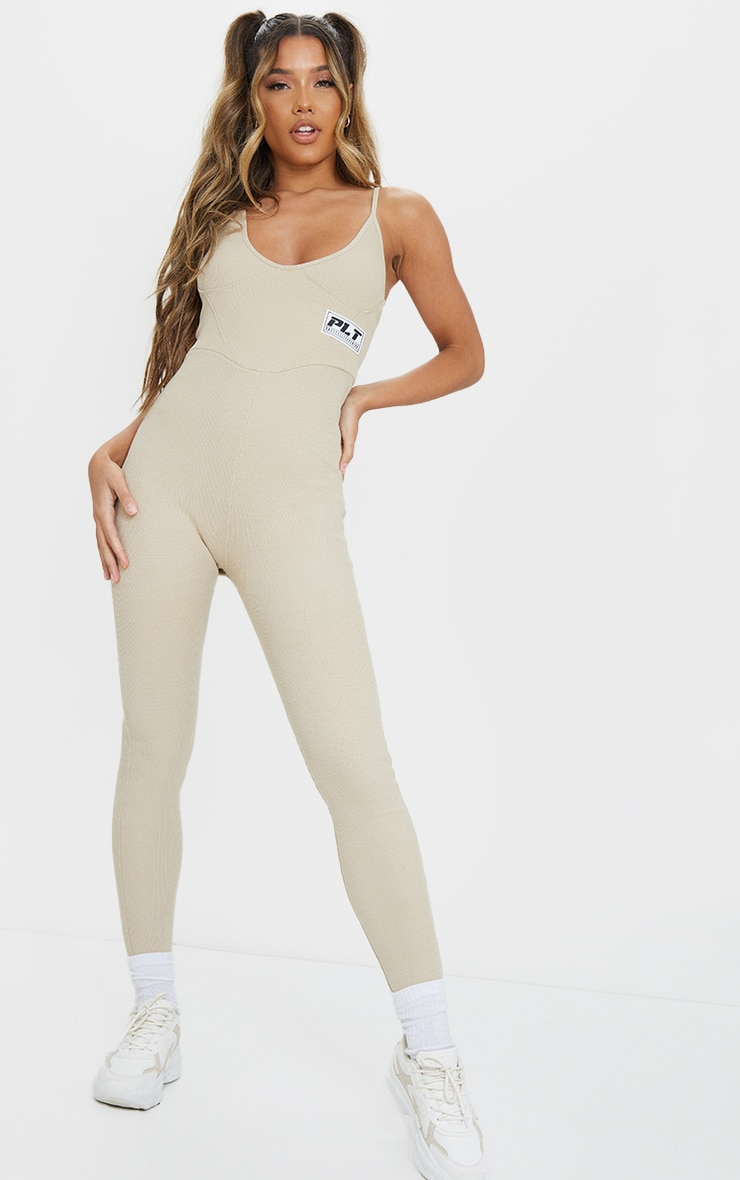 PRETTYLITTLETHING Stone Strappy Thick Rib Binding Jumpsuit 1
