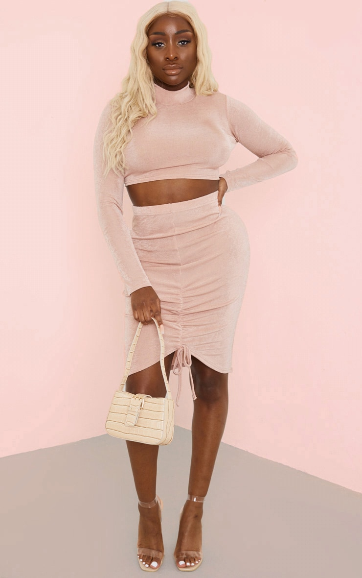Dusty Rose Acetate High Neck Top And Ruched Skirt Set 1