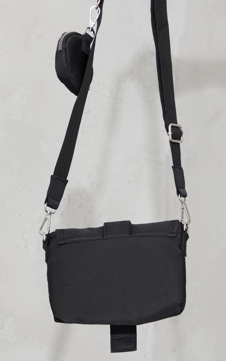 Black Nylon Multi Pocket Eyelet Detail Bag 3