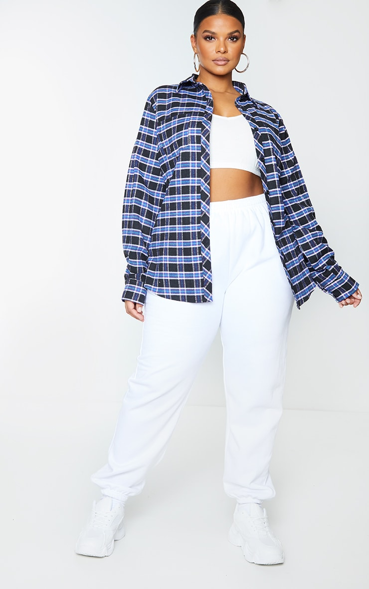 Plus Navy Blue Tartan Oversized Shirt 1