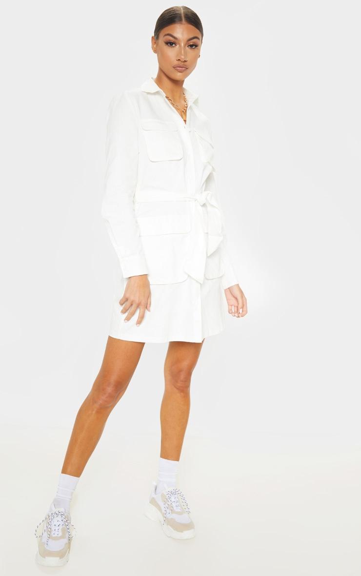 Tall White Utility Tie Waist Shirt Dress 5